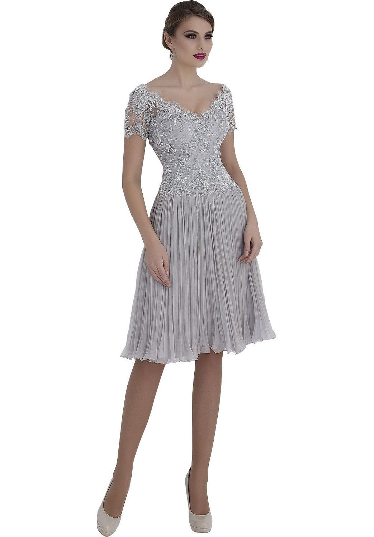 Newdeve V-Neck Silver-Grey Lace Bridal Mother Dresses Short Sleeves