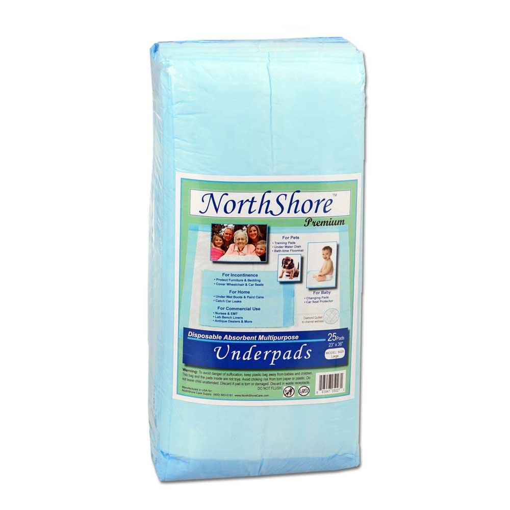 NorthShore Premium Blue Disposable Underpads (Chux), Large Size 23 x 36, Pk