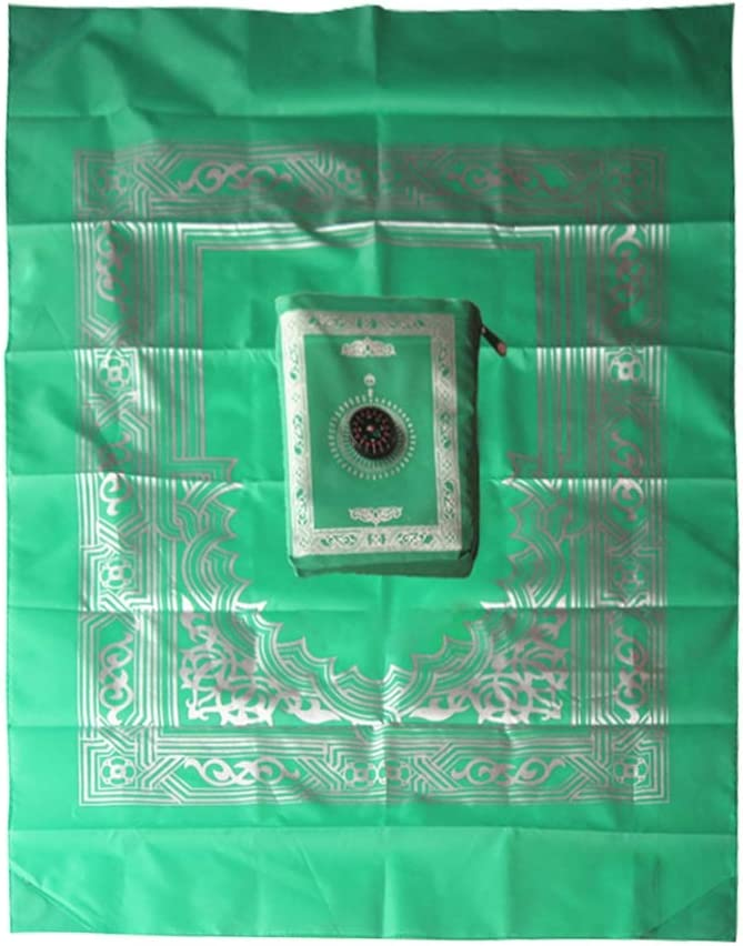 Hankyky Portable Tapis de pri/ère Musulman Tapis de Voyage Couverture de pri/ère Islamique avec Compas de Poche Taille Sac de Transport et attach/é Tapis de pri/ère Compass Portable Polyester 60100 cm