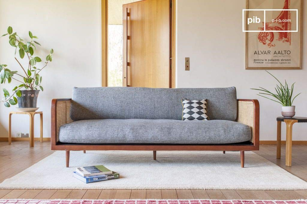 Sofá de Madera y caña Starheim - Confort de Asiento, Fácil ...
