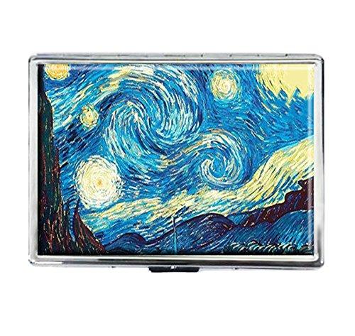 Cigarettes Case Holder - Van Gogh Starry Night Design Stainless covid 19 (Id Credit Card Cigarette Case coronavirus)