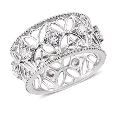 J FRANCIS Women Platinum Plated 925 Sterling Silver Made with Swarovski® Zirconia (set of 2) Rings Size O oQzSY