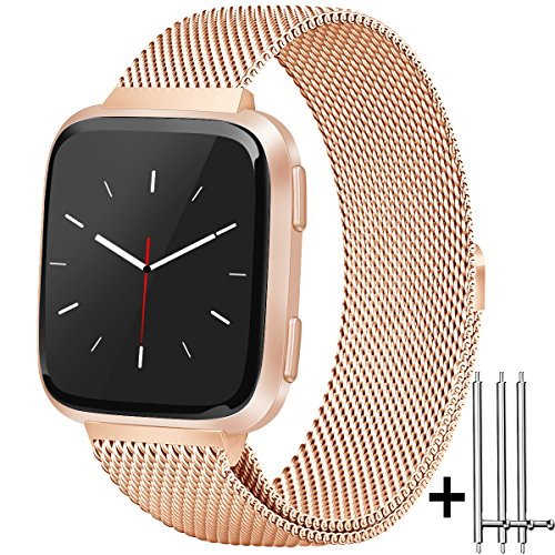 Amzpas for Fitbit Versa Bands Milanese Loop with Magnetic Lock Stainless Steel Metal Mesh Replacement Wristbands for Fitbit Versa (03 Rose Gold, - Lock Magnetic Gold