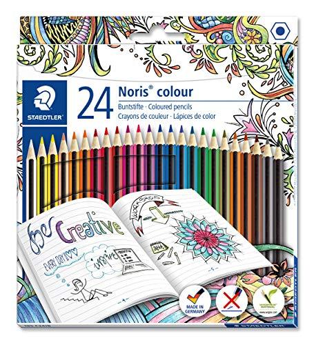 (Staedtler Noris colour 185 C24JB Buntstifte (erhöhte Spitzen-Bruchfestigkeit, sechskant, Set mit 24 brillanten Farben, Wopex Material, PEFC-Holz, DIN EN71))