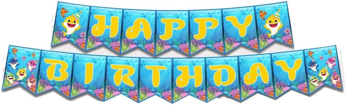 Baby Shark Birthday Banner Baby Shark Happy Birthday Banners Baby Shark Birthday Decorations For Baby Boys Girls 1 2 3 4 5 1st 2nd 3rd Birthday