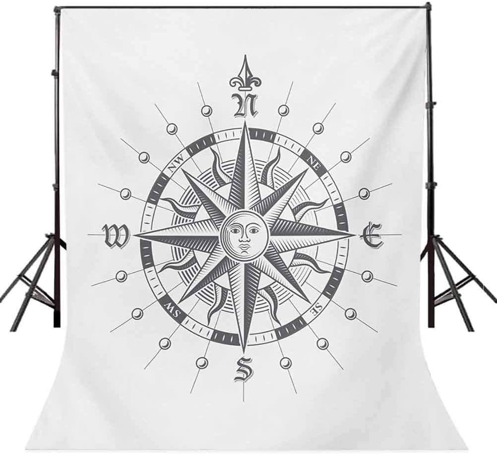 6.5x10 FT Photo Backdrops,Hand Drawn Compass with The Face of The Sun on Directions North South East West Sailing Background for Baby Shower Birthday Wedding Bridal Shower Party Photo Studio Decor