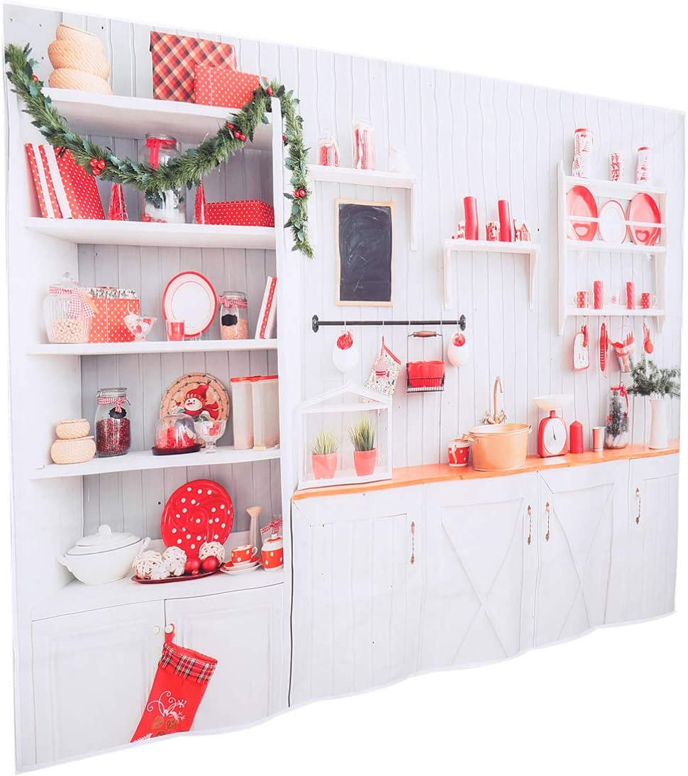 OSALADI Christmas Kitchen Photography Backdrop Xmas Background Photo Booth Props for 2021 New Year Eve Celebration Wall Decoration