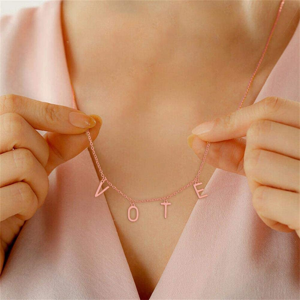 Lucky Letter Combination Initial Clavicle Necklace Dainty Vote Initial Necklace Trendy 2020 Election Necklace Elegant Gold Plated Letter Necklace for Women Girls Jewelry