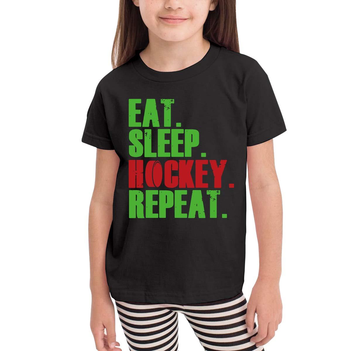 Little Boys Eat Sleep Hockey Repeat Soft Short Sleeve Tee Tops Size 2-6