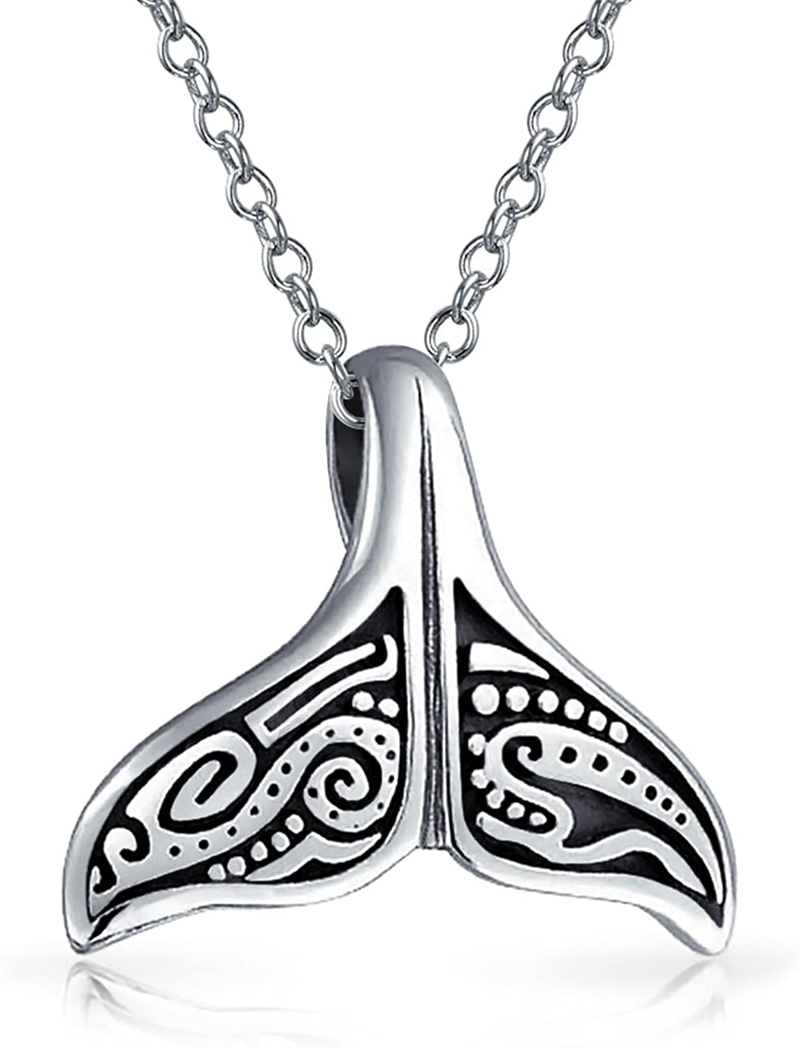Nautical Costal Tail Whale Fin Pendant Necklace For Men For Women Oxidized 925 Sterling Silver