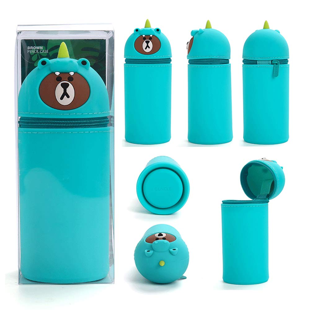 Chook 3D Cartoon Silicone Retractable Stationery Organizer Stand Up Pen Case Pen Holder