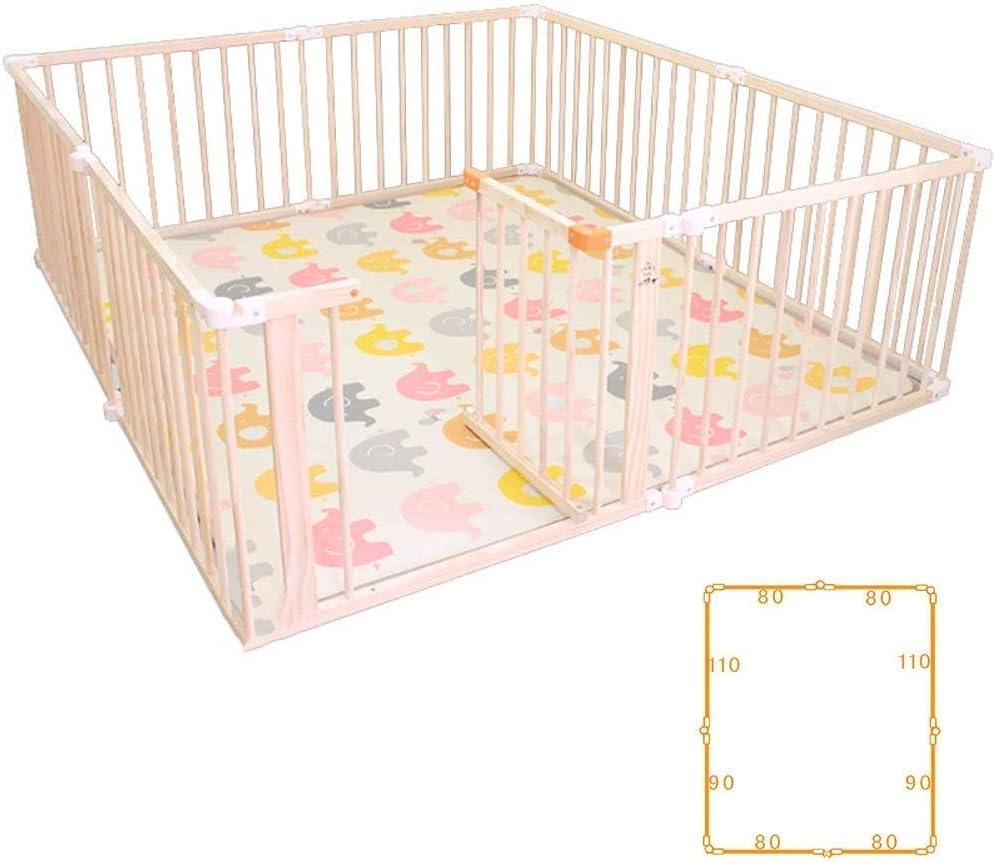 LYF Valla de bebé Plegable, Cerca de Puerta con Cerradura portátil Interior y Exterior, 66 cm de Pino Natural Alto (tamaño: 160X200cm)