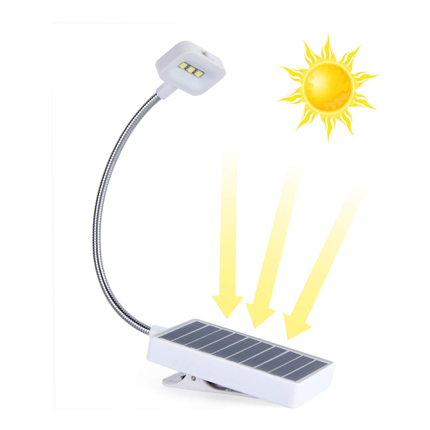 Solar LED Book Light,Solar Eco and USB Recharging,Glowseen Soft Clip Reading Lamp, Adjustable 2-Level Brightness, Best for Reading in Bed