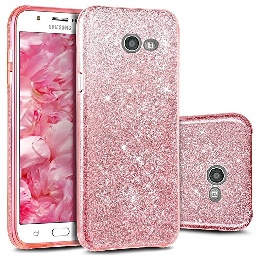 TecHERE StarCase–Funda blanda con purpurina Glitter para Samsung Galaxy A52017–Carcasa de alta calidad de silicona Gel con Protector de pantalla incluye (Rosa)