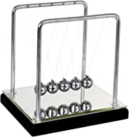 Newtons Cradle Balance Balls Mirror with Black Wooden Base Fun Science Physics Learning Toy Fun Gadget Pendulum for Office D