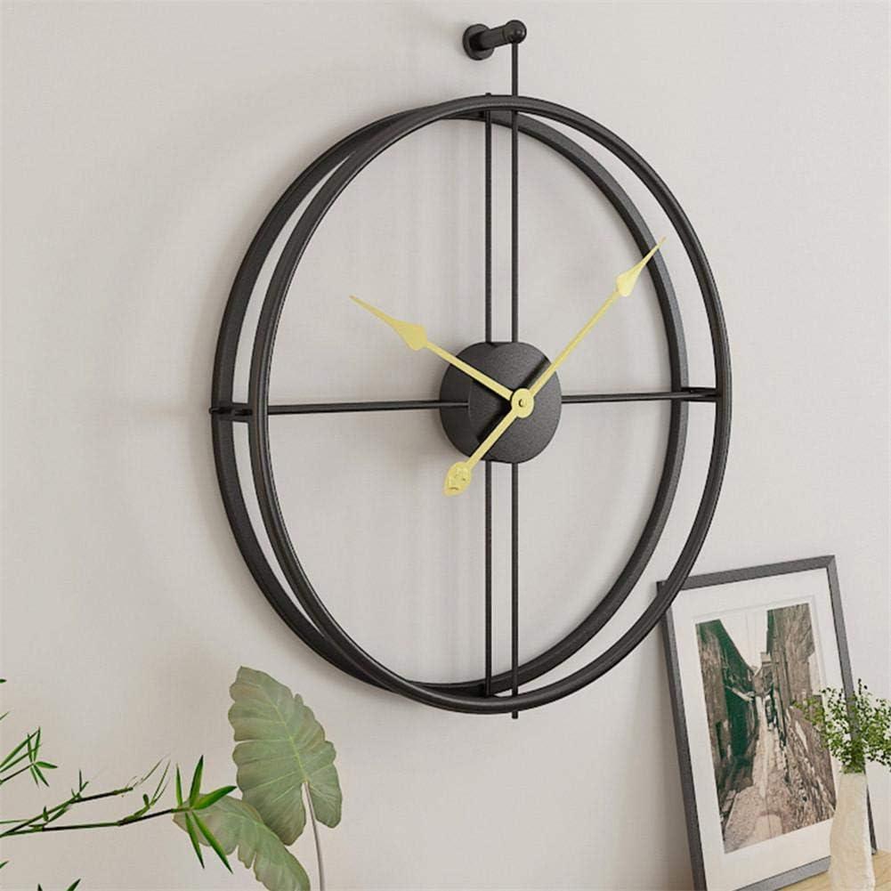 seawe Reloj De Pared, Reloj De Pared Grande Reloj De Pared Europeo Simple Mudo Diseño Moderno Regalo De Decoración De Pared, Material Chapado En Oro + Plástico Duradero Superficie Lisa (Negro/Dorado)