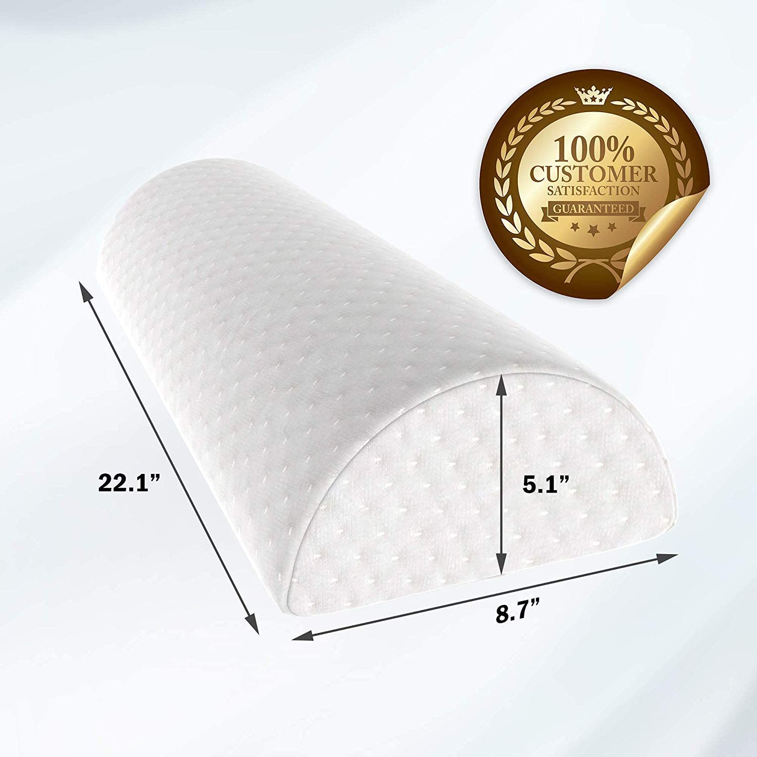 Half Moon Bolster Pillow - Knee Pillow for Back Pain Relief - Best Support for Sleeping on Side, Stomach or Back - 100% Memory Foam Semi Roll Leg Pillow with Washable Cover (XL, White): Home & Kitchen
