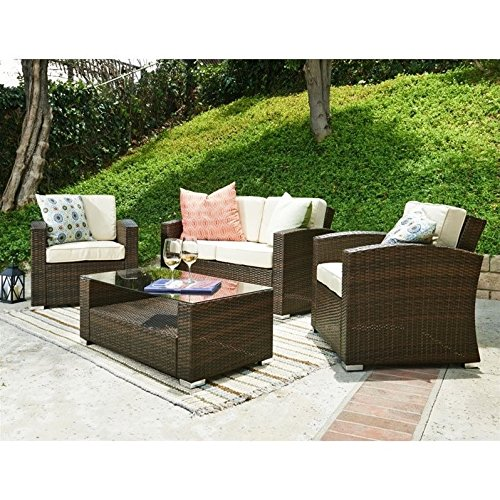 The-Hom Bahia 4 Piece Outdoor Wicker Coversation Sofa Set in Brown (The-hom Outdoor Furniture)