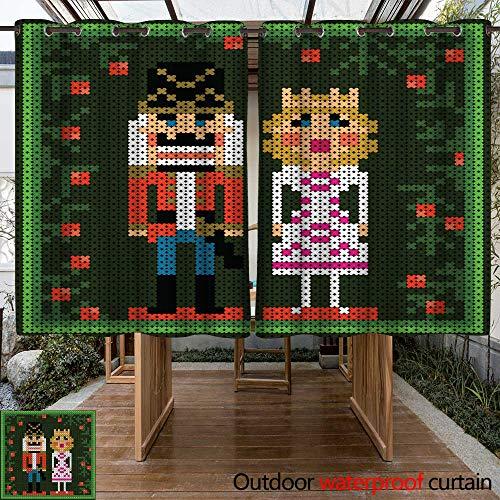 RenteriaDecor Home Patio Outdoor Curtain x Stitch Christmas Card with Nutcracker and Princess W63 x L72