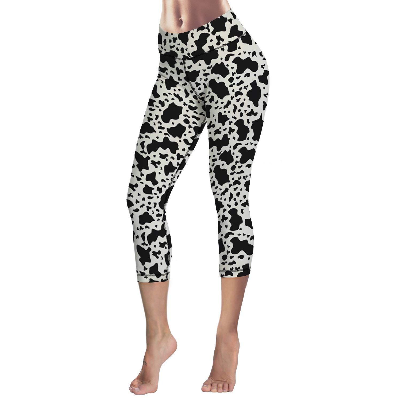 Custom Milk Cow Stretchy Womens Leggings Skinny Capri Leggings Pants for Yoga Running Workout Pilates Gym Sports