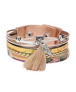 La Cabina Femme Bracelet en PU Cuir Tressé Bijou Fantaisie Mode Bracelet de Poignet Gland Longue Coloré Décoration Bangle Multi-Couche