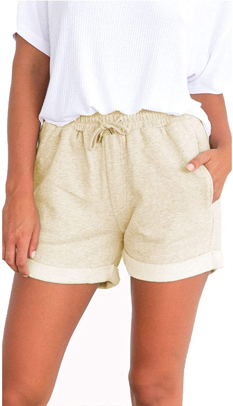 Famulily Women's Summer Beach Shorts Casual Comfy Pajama Shorts with Drawstring