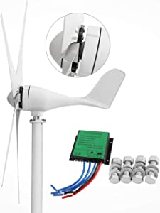 Dyna-Living Wind Turbine Generator 500W DC 12V Wind Turbine 5 Blade Low Wind Speed Starting Bearings Garden Street Lights Wind Turbines with Charge Controller Garden