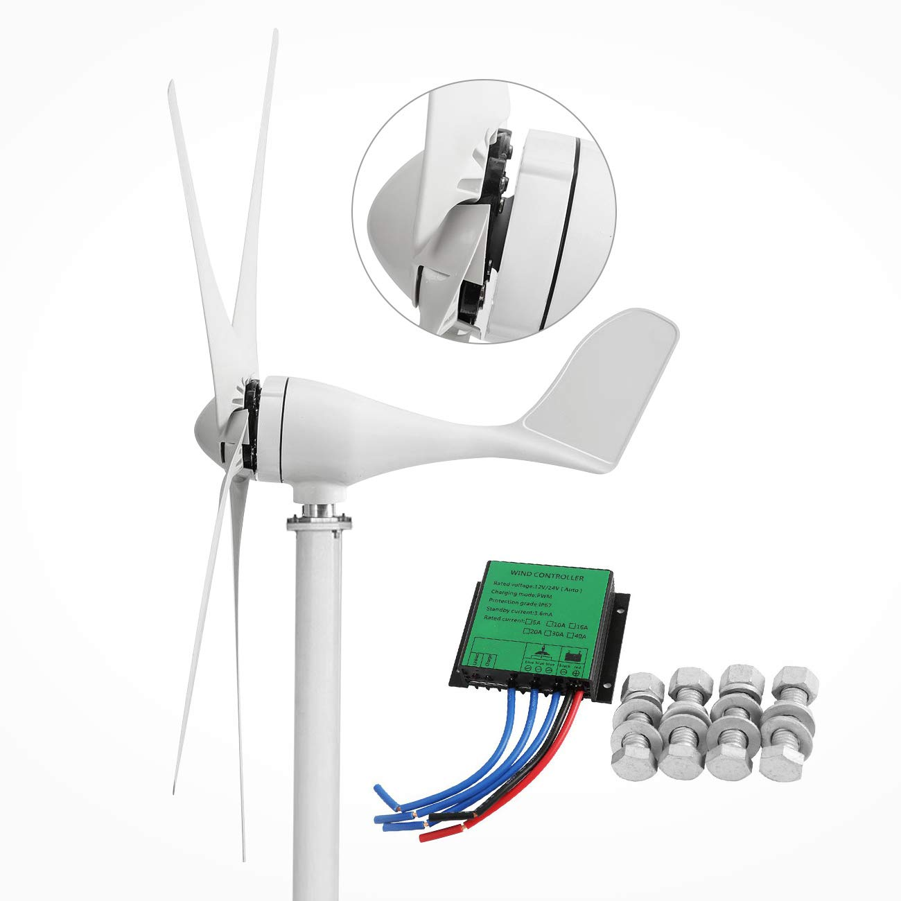 Dyna-Living Wind Turbine Generator 500W DC 12V Wind Turbine 5 Blade Low Wind Speed Starting Bearings Garden Street Lights Wind Turbines with Charge Controller Garden by Dyna-Living