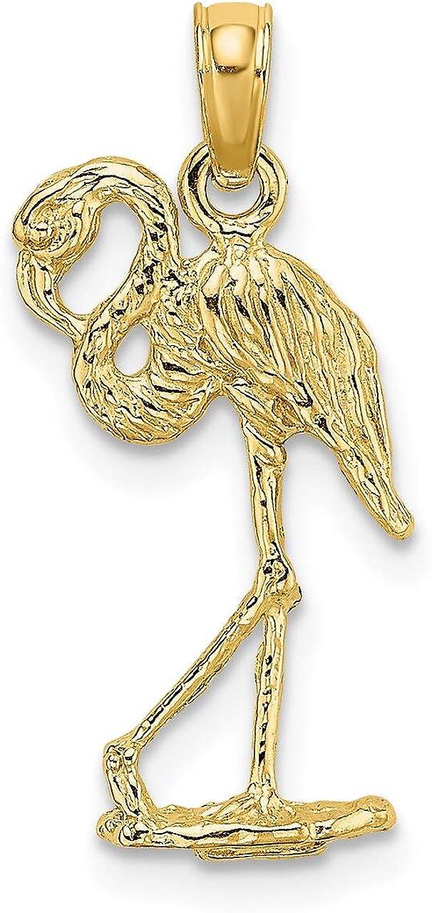 Lex /& Lu 14k Yellow Gold 3D Flamingo w//Head Up Charm