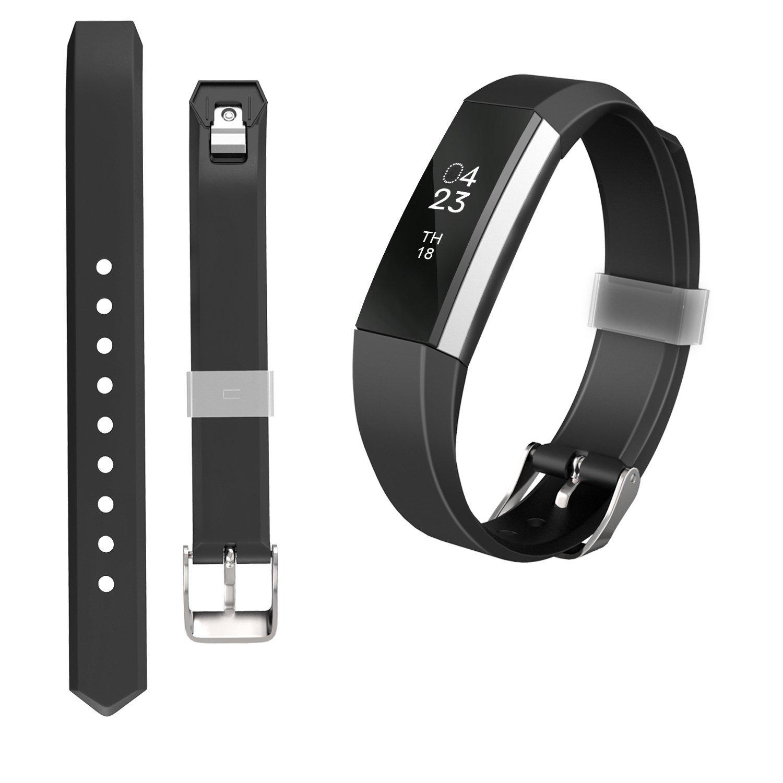 JOMOQ Fitbit ALTA交換用シリコンスタイルリストバンドwith Safety Watchバックル B075N2BLP3 Small ブラック ブラック Small