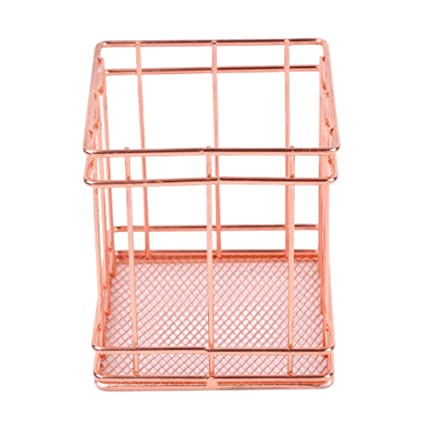 Modern Metal Copper Rose Gold Wire Mesh Storage Basket Kitchen Bedroom Bathroom