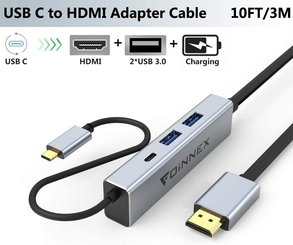 Cable USB C a HDMI 3M,Power PD de Carga,2 USB3.0. Adaptador Tipo c Dex Dock para Samsung S9,S8,S10 Plus,Note 10/9/8, Huawei P30/P20, Mate 30/20, MacBookPro,Nintendo Switch,Surface,Chromebook TV Hub 4K: Amazon.es: Electrónica