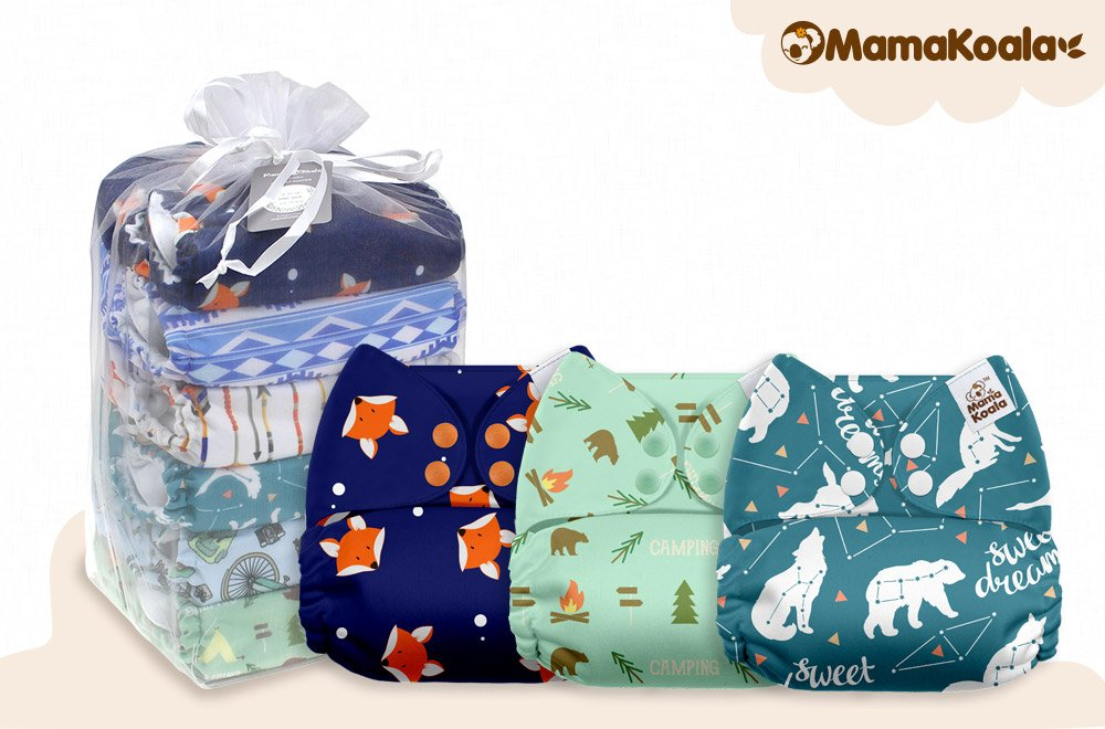 Soft Cloud Mama Koala One Size Baby Washable Reusable Pocket Cloth Diapers 6 Pack with 6 One Size Microfiber Inserts