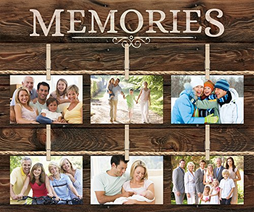 P. Graham Dunn Memories 6 Photo Rustic 18 x 21 Wall Sign Picture Frame Collage with Clothespins