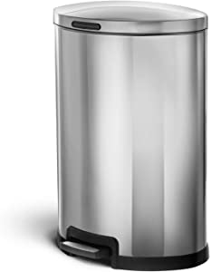 Home Zone Kitchen 45 Liter / 12 Gallon Stainless Steel Trash Can, Semi-Round, Pedal (Silver)