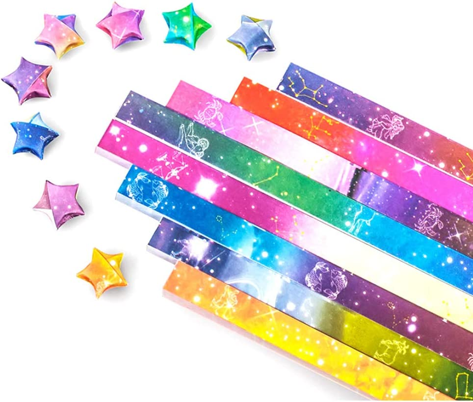 Cartoon Starry Sky, 1120 Sheets 1120 Sheets Origami Paper Stars DIY Hand Crafts Origami Lucky Star Paper Folding Origami Star Paper Strips for Paper Arts Crafts