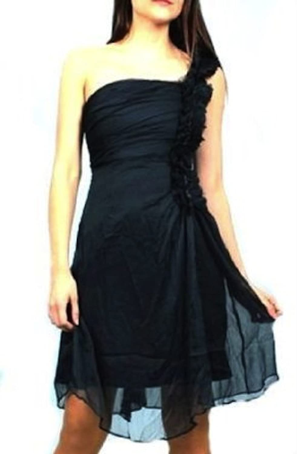 MM Couture One Shoulder Navy Ruffle Shoulder Dress with Tulle Detail