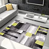 "TAPISO JAWA Collection Area Rug Rectangle Shapes Modern Design| Ideal for Living, Bed & Dining Room | Chic Contemporary Pattern | Gray & Green 2'7″ x 4'11"" Review"