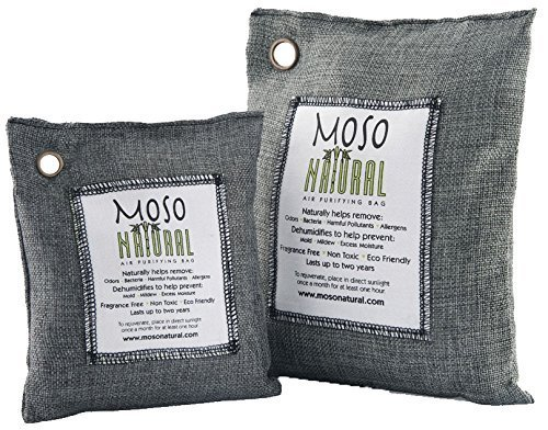 MOSO NATURAL Air Purifying Bag. Bamboo Charcoal Air Freshener, Deodorizer, Odor Eliminator, Odor Absorber For Cars and Home. 200g 500g Charcoal ()