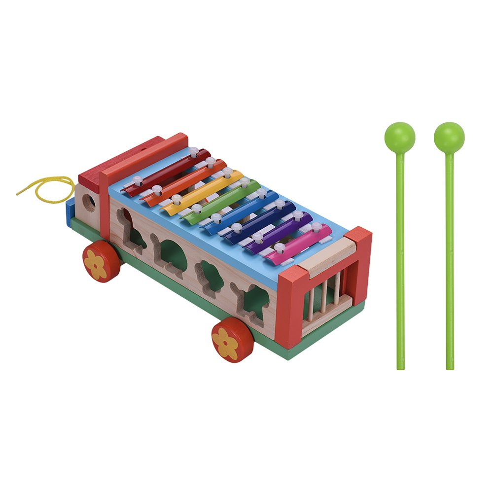 8 Notes Xylophone Glockenspiel Muslady Multifunctional Wooden Toy Car with 7 Cute Animal-shaped Blocks Early Educational Toy Percussion Instrument Musical Gift for Kids Children
