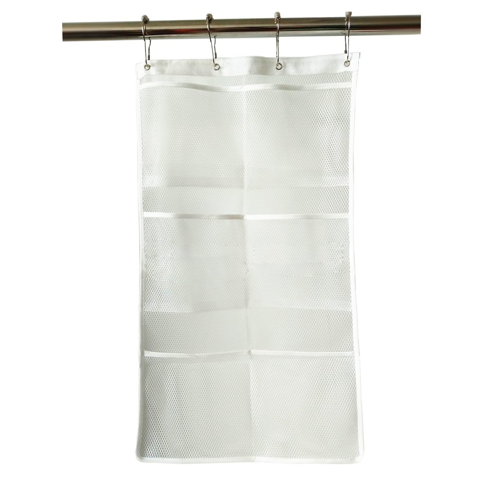 LSHCX Hanging Mesh Bath Organizer with 6 Pockets Quick-Dry Shower Caddy Shower Organizer with 4 Hooks, White