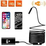 Wireless Endoscope WiFi Inspection Camera USB Endoscope 2.0MP HD Borescope 2 in 1Flexible Snake Camera Waterproof Tube Drain Pipe Camera with 8 Led for iOS Samsung Android iPhone Windows-16.4ft(5M) (Color: Wifi)