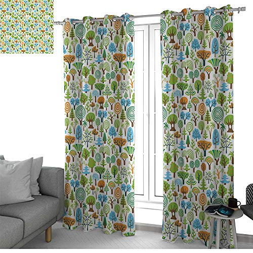 (NUOMANAN Curtains 84 inch Length Tree,Cartoon Style Forest Pattern Many Types of Trees Abstract Ornamental Spring Season,Multicolor,Modern Farmhouse Country Curtains)