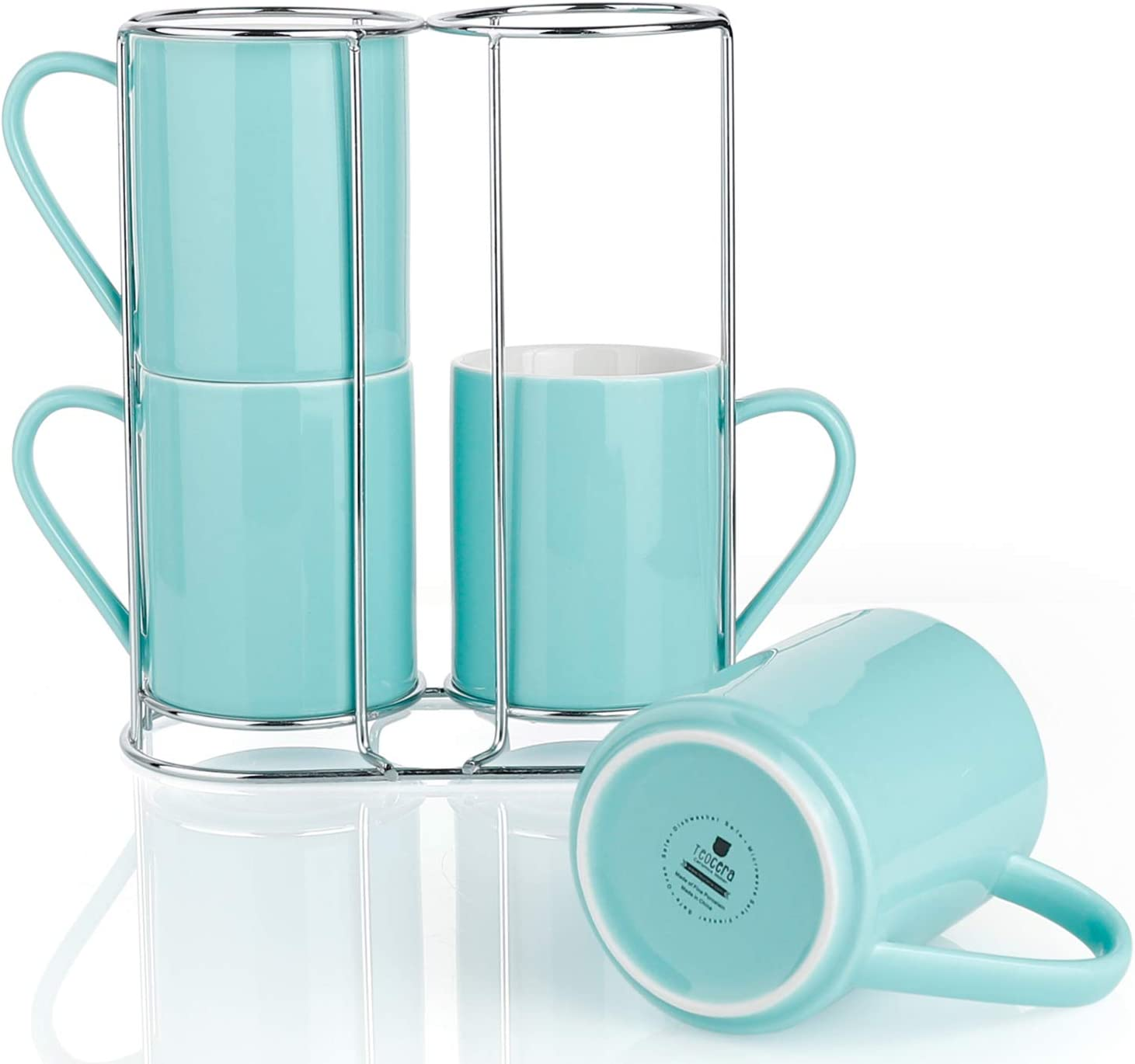 Teocera Porcelain Coffee Mugs with Stand, Coffee Mug Set - 11 Ounce for Tea, Cocoa, and Mulled Drinks - Set of 4, Turquoise