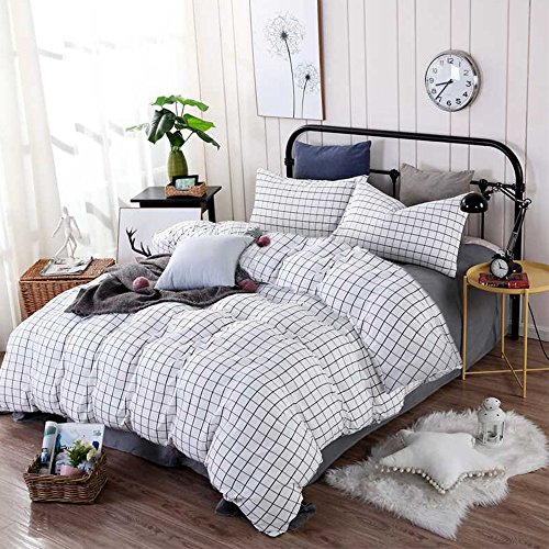 CLOTHKNOW Grid Duvet Cover Sets Queen/Full White Black Bedding Sets Boys Checkered 100 Cotton Set of 3-1 Duvet Cover Zipper Closure 2 Envelope Pillow Shams Standard No Comforter -