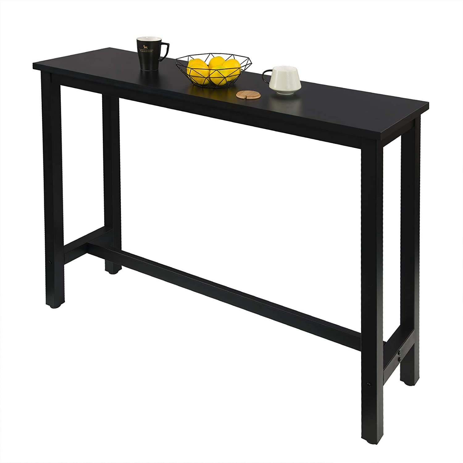 140x40x100cm WOLTU Kitchen Bar Table Breakfast Dining Table Black Coffee Table Party Table Metal in Black Frame with Footrest