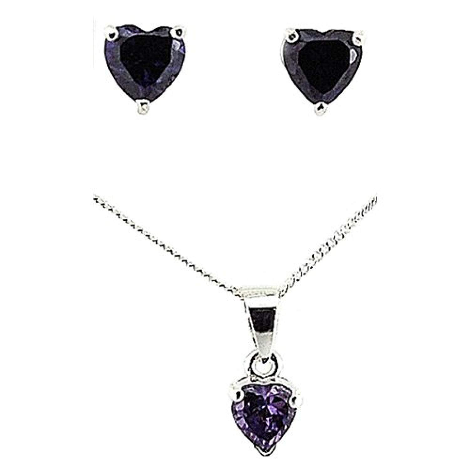 The Olivia Collection TOC Sterling Silver Purple Rhinestone Heart Earrings /& Pendant Necklace 18 Set