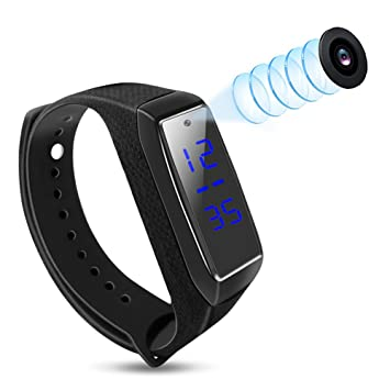 Caméras Espion 1080P Bracelet Intelligent Mini vidéo Caméra Surveillance cachée avec Affichage lheure et Date Sport Montre Caméscope