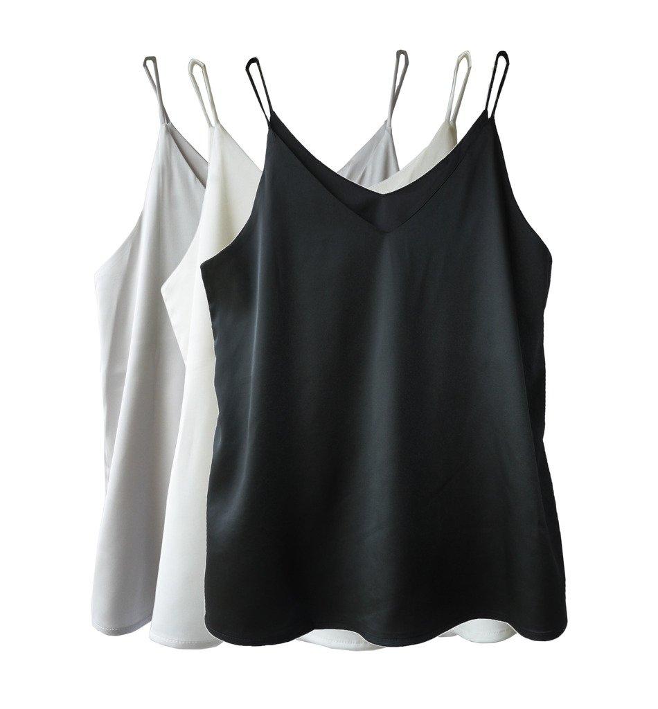 Wantschun Womens Silk Satin Camisole Cami Plain Strappy Vest Top T-Shirt Blouse Tank Shirt V-Neck Spaghetti Strap US Size XL;Black+White+Grey