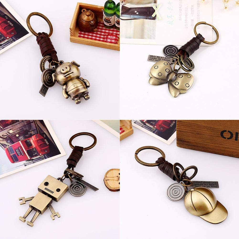 Sanmubo Vintage Woven Leather Keychain Woven Leather Keychain Rustic Leather Key Chain Durable Zinc Alloy Keychain Decoration for Car Phone Bag Wedding